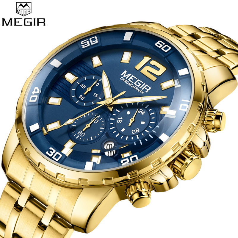 Megir Marque De Luxe Sport Hommes Montres Bracelet En Acier Inoxydable Chronographe Militaire Quartz Montre D'affaires Horloge Relogios Masculinos