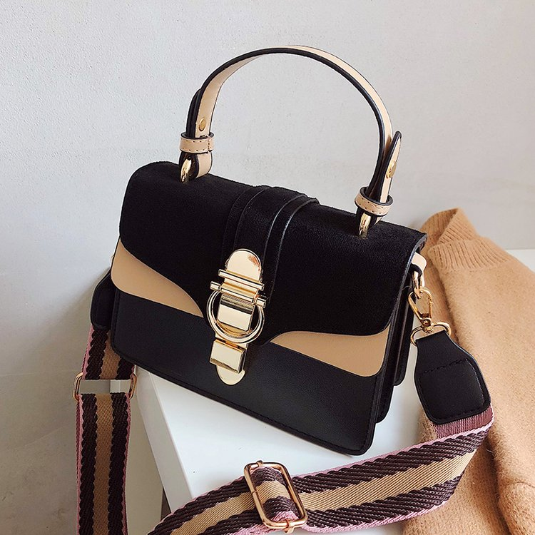 BLACK New Women Leather Handbags Luxury Contrast Color Shoulder Bag