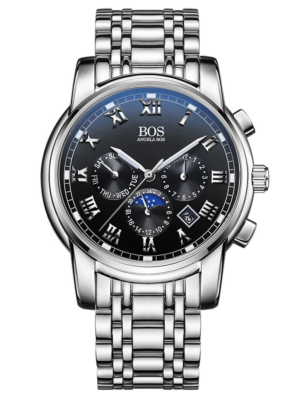 popular nice watch brands men buy cheap nice watch brands men lots angela bos luxury brand watch men s ese quartz chronograph stainless steel waterproof sport watch black dial