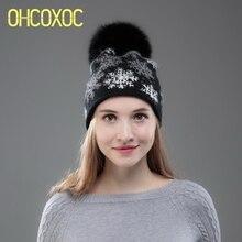 c289a2f131337 Yün kaşmir kış şapka kadınlar için Gerçek Tilki Vizon Kürk ponpon şapkalar  Sıcak Kasketleri Noel Kar Taneleri desen moda Kış Şap.