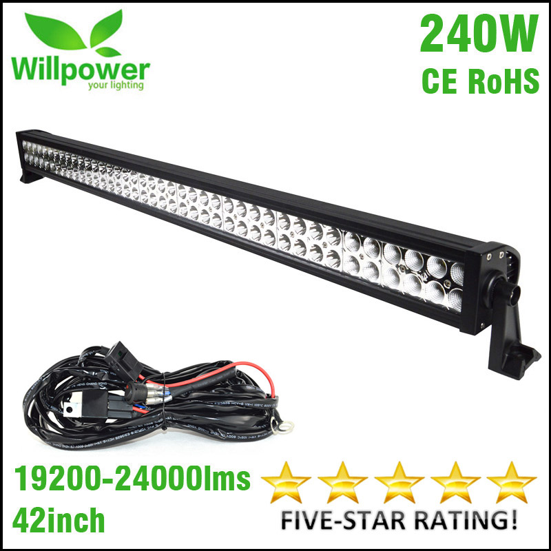 FREE shipping 4x4 combo beam 24000lms 42 inch 240w 4x4 car driving lights wiring kit 12v
