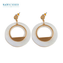 Sansummer New Hot Fashion Golden Round Shell Boho National Style Pendant Elegant Trendy Earrings Women Jewelry