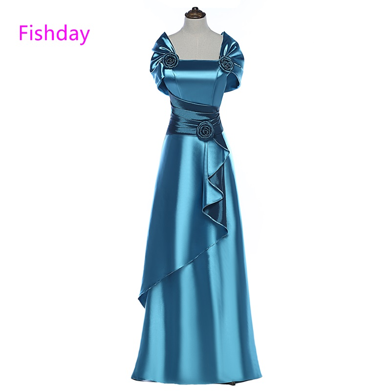 Fishday Prom Dress Long Satin Purple Blue Women Elegant 2019 Cheap Imported  Party mother daughter gown 9cd664795fb0