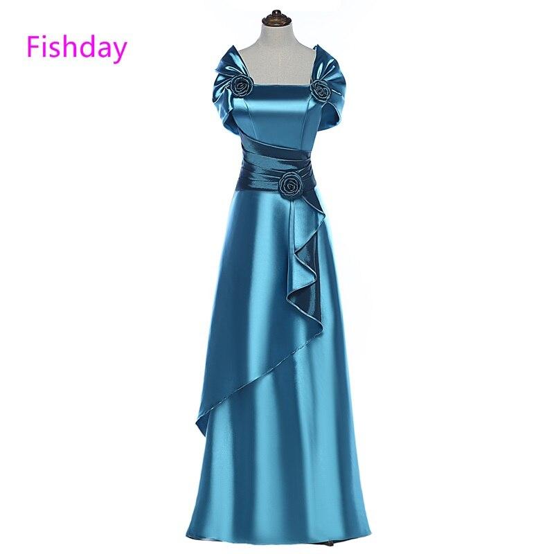 Fishday Prom Dress Långt Satin Lila Blå Kvinnor Elegant 2018 Billig - Särskilda tillfällen klänningar