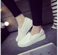 2017 Spring new han edition leather pedal canvas shoes female low help students lazy leisure shoes large base platform shoes