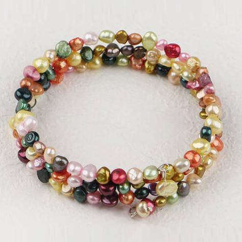 Multicolor Genuine Freshwater Pearl Bracelet Fashion Bangle Jewelry Valentines Gift 3Rows Beautiful Pearl Jewelry