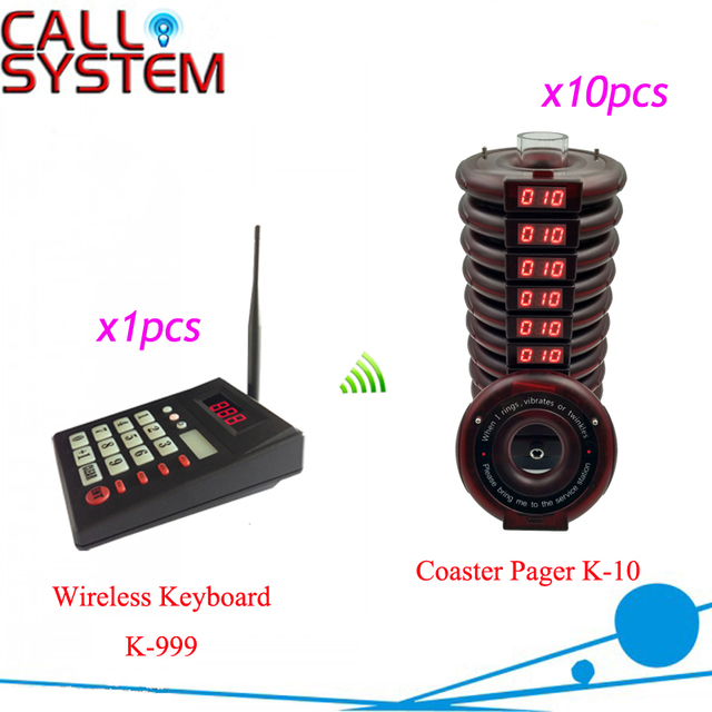 Restaurant Pager Wireless Paging Queuing Calling System 1 Transmitter+10 Coaster Pagers Restaurant Equipment