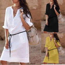 Casual Women Cotton Shirt Dress Summer Turn-down Collar Loose Party Dresses Long Sleeve Solid Mini Dress Vestidos cuerly 2019 women solid pleated shirt dress buttons long sleeve turn down collar female casual mini dresses vintage vestido