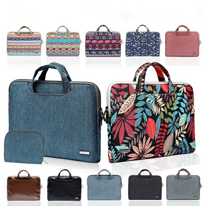 Briefcase Men Laptop-Bag Women Fashion PU For Apple Macbook Printed Leahter