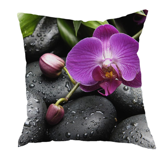 European Style Orchids and stone Home Decorative Throw Pillow Case Vintage Cotton Linen Square Cute pillowcase
