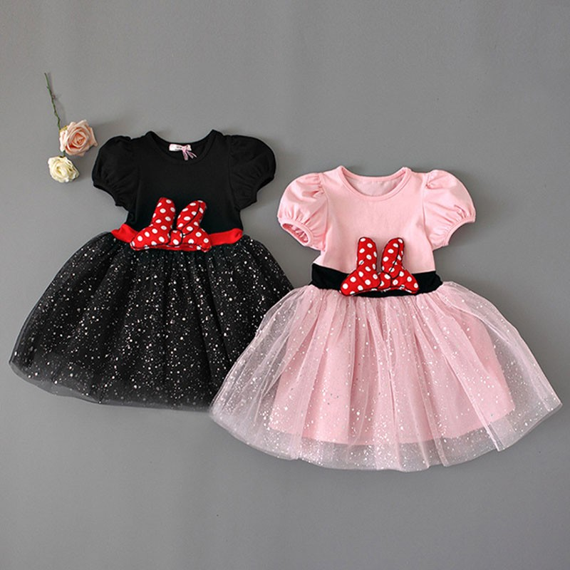 2 Colors Girls Dress New Summer Lace Mickey Minnie Princess Dress Kids Dresses For Girls Cosplay Costume Girls Party Dress 1-5Y