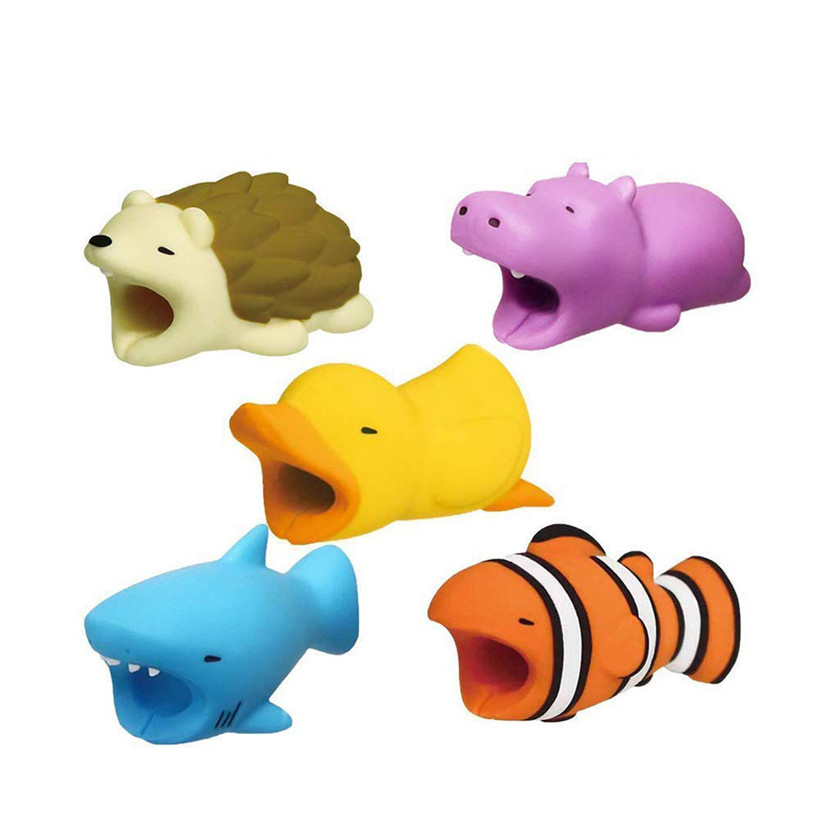 Newly Design 5pcs/lot Cartoon Cable Protector Plastic Cute Animal Bite Fish Duck USB Cable Cover For IPhone 81008