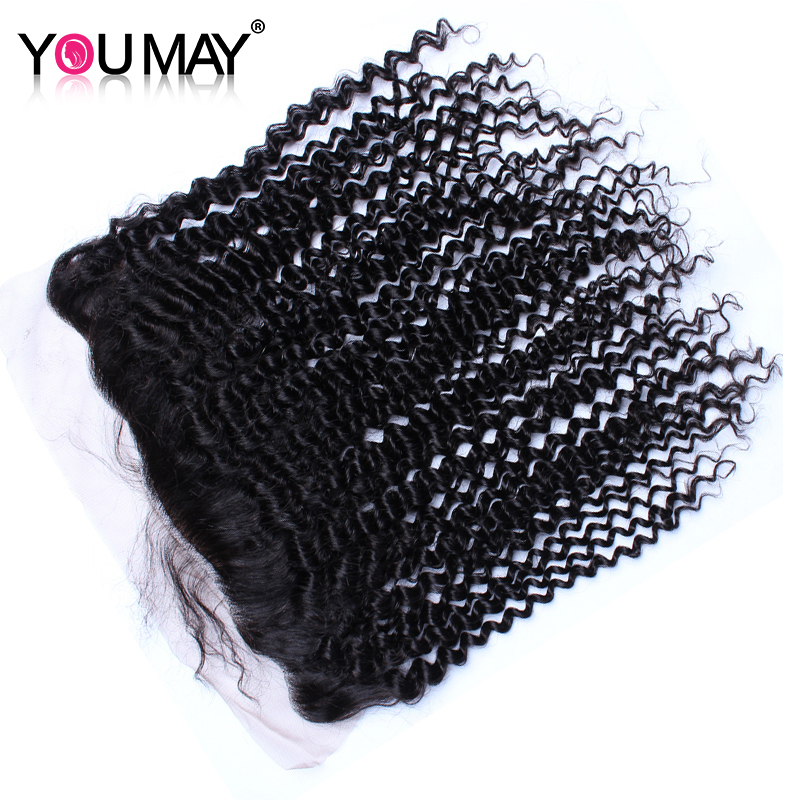 13X4 Lace Frontal Closure With Baby Hair Kinky Curly Silk Base Closure Brazilian Remy Hair Natural Black You May Hair