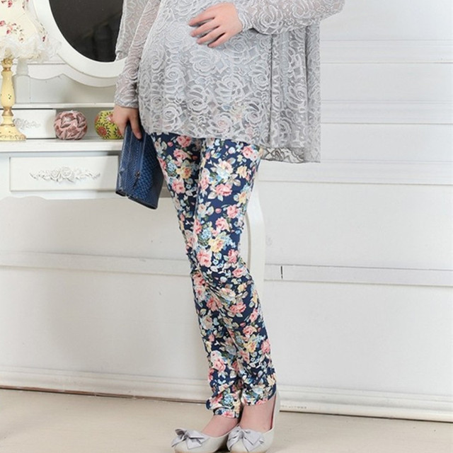 2016 New Arrival Casual Adjustable Maternity Flower Print Pencil Pants Elastic Waist Abdominal Belly Pants Pregnant Trousers 737