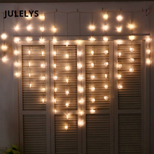JULELYS 2 * 1.5 78 נורות הלב LED חתונה וילון אורות גרליאנדה חג המולד חדר גרלנד חדר פיות אורות LED קישוט