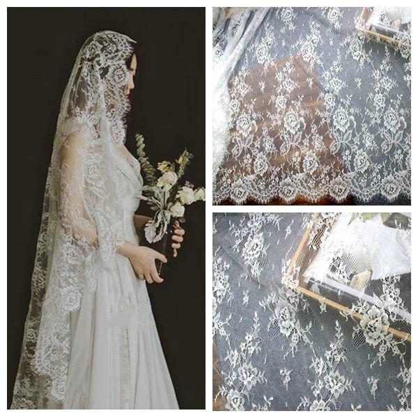 3MeterLot White Black France Eyelash Lace Fabric 150CM Wedding Dress Skirt DIY Embroidery Flower Clothes Sew Accessories VK1570