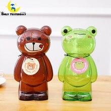 Plastic Cartoon Bear Transparent saving money piggy bank children's coins collector Girlwill money box