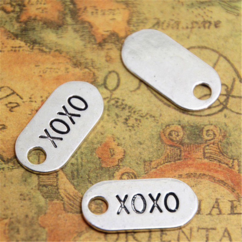 10pcs XOXO Word Charms Hugs and Kisses Silver tone Love
