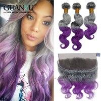 Guanyuhair серый/фиолетовый Ombre волос Weave 3 Связки с синтетический Frontal шнурка 13X4 уха до уха перуанский Remy натуральные волосы средства ухода за кож