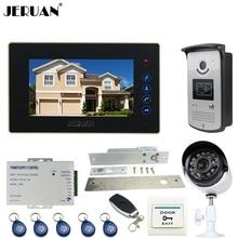 JERUAN Wired 7 inch TFT Touch key Video Door Phone intercom System kit + RFID Access IR Camera + Mteal 700TVL Analog Camera