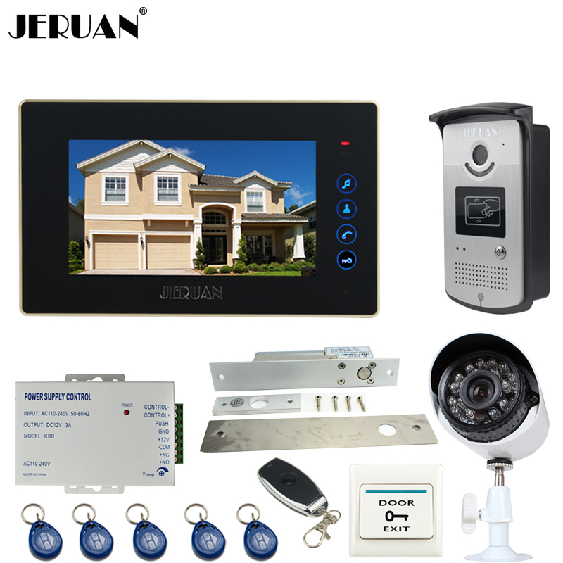 JERUAN Wired 7 inch TFT Touch key Video Door Phone intercom System kit + RFID Access IR Camera + Mteal 700TVL Analog Camera