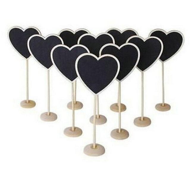 5PCS New Heart Shape Wooden Mini Blackboard Chalkboard(China)
