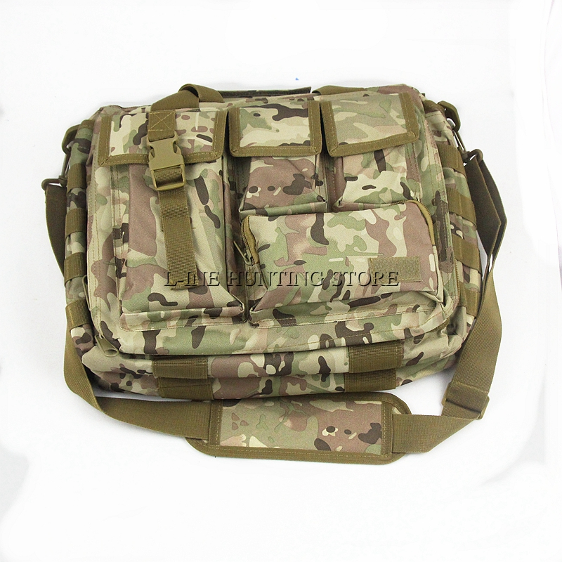 Outdoor Laptop Shoulder Bags Tactical Military Hiking Outdoor Travel Bag fits up to 15 Inch Laptop Computer Bag in Black/Tan/CP
