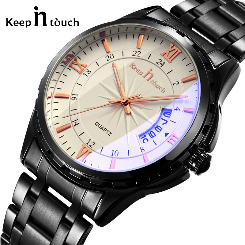 Top Brand KEEP IN TOUCH Mens Quartz Watch Fashion Casual Waterpoof Men Watches Calendar Steel Band Wristwatch Male Clock Gift