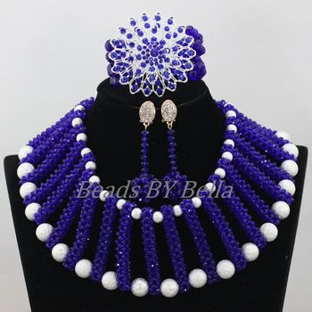 Latest Bridal Jewelry Sets Royal Blue Crystal Nigerian Wedding Necklace Christmas African Beads Jewelry Set Free Shipping ABF921