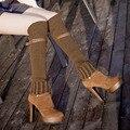 Senhoras Sapatos de Inverno Camurça Nubuck Coxa Salto Alto Mulheres Com Mais de o Joelho Botas de Couro PU Moda Botas Mulher Outono Tamanho 35-39