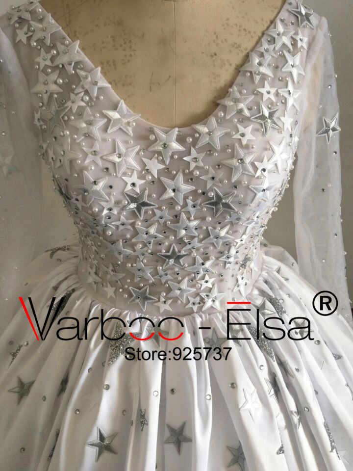 שיר מדהים כדור שמלת חתונת שמלות 2018 נפוחות 5 כוכבים קריסטל מבריק לבן שרוול ארוך חתונה ערבית כותנות robe de mariage