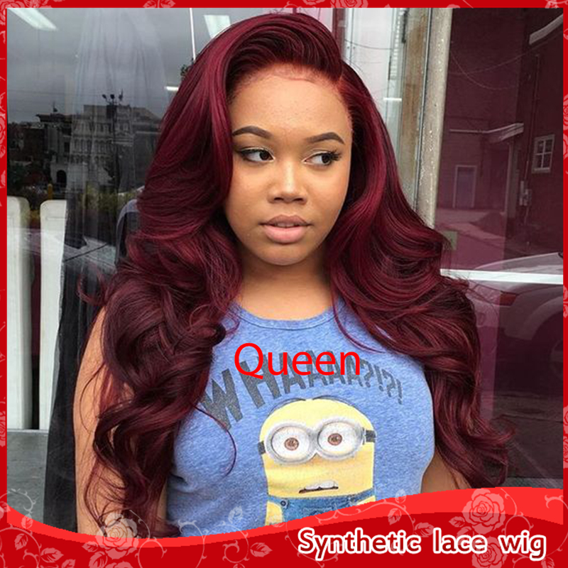 New bug  Burgundy Red Wig Glueless Synthetic Lace Front wig Body Wavy Cheap  quality Hair Heat Resisitant Wigs For Black women c03b5d364