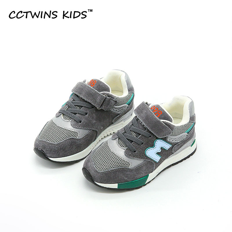 CCTWINS KIDS 2017 Boy Breathable Trainer Genuine Leather Baby Girl Gray Sneaker Toddler Fashion Children Sport
