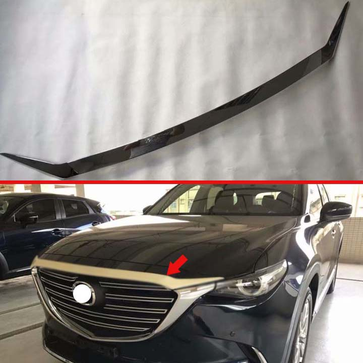 For <font><b>Mazda</b></font> CX-9 <font><b>CX9</b></font> 2017 2018 <font><b>2019</b></font> ABS Front Hood Bonnet Grill Grille Bumper Lip Mesh Trim Cover Molding Car Styling Kit Sticker image