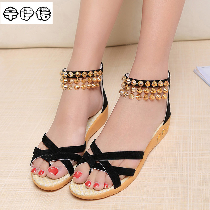 Sandalias Mujer Direct Selling Pu Open Melissa 2017 New Arrival Sandals Fashion Flat Shoes Causal Bohemia Plus Size Wholesale