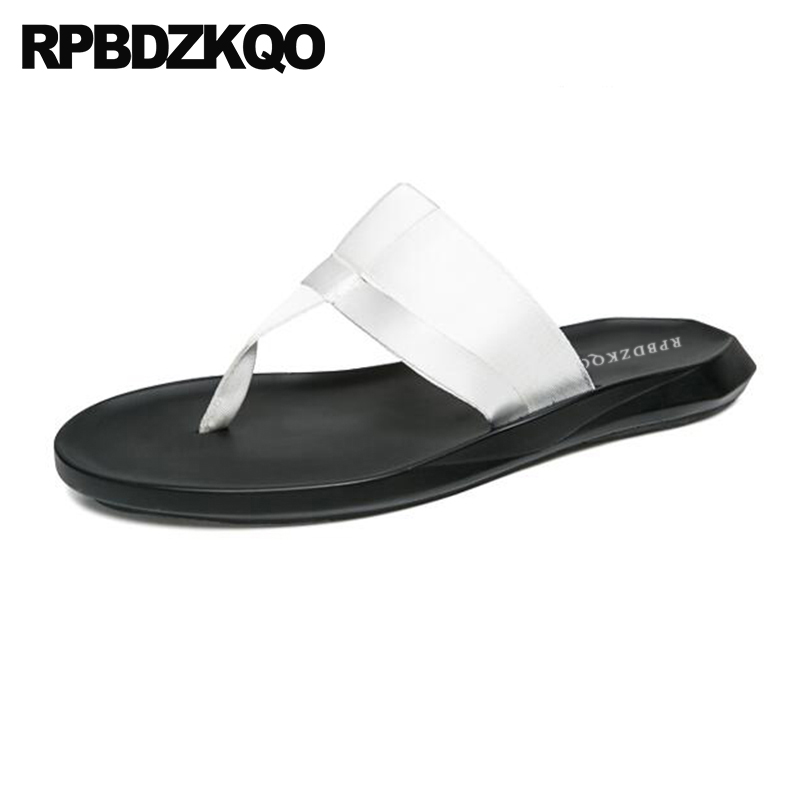 0ebff9f340bf03 Beach 2018 White Slides Designer Men Outdoor Casual Toe Flip Summer Mens  Sandals Flop Flat Slip ...