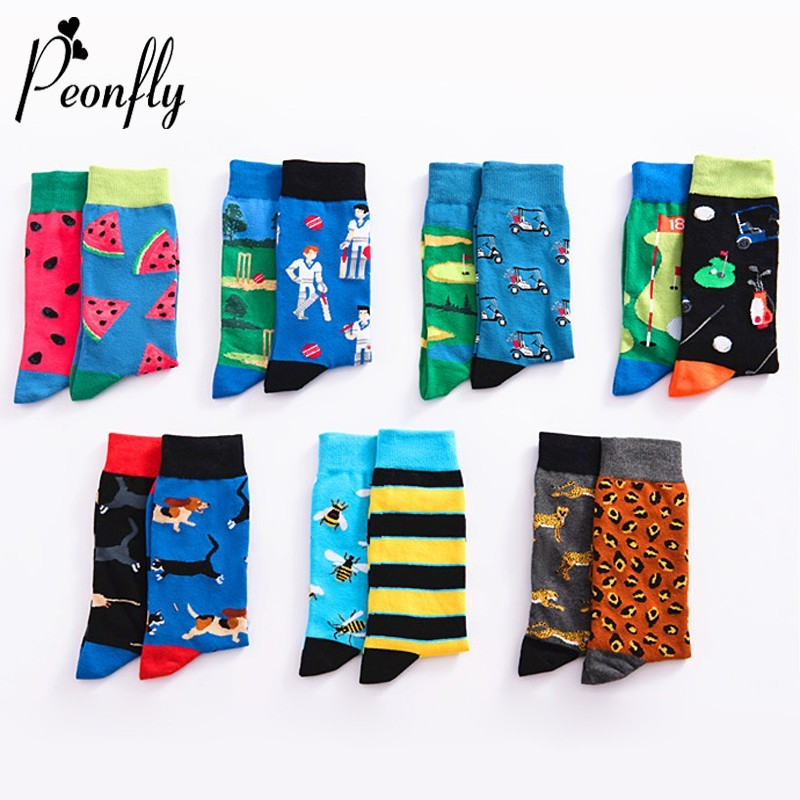 PEONFLY Men Happy Funny Cartoon Animal Fruit   Sock   Fashion Print Bee Leopard Dog Watermelon Cotton Breathable hip hop Dress   Socks
