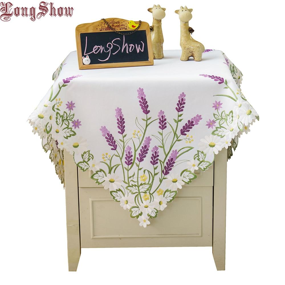 Jedinečná kreativní dekorace jídelního stolu 85 cm čtverečních Luxusní lavender saténová výstřih Béžová bílá bílé vyšívané ubrusy