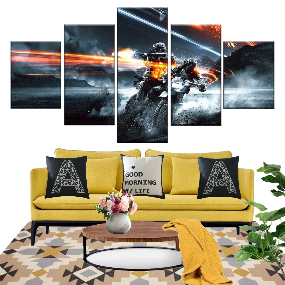 5 Piece Battlefield Game Poster Pictures Canvas Wall Art for Bedroom Decor Modern Oil Painting