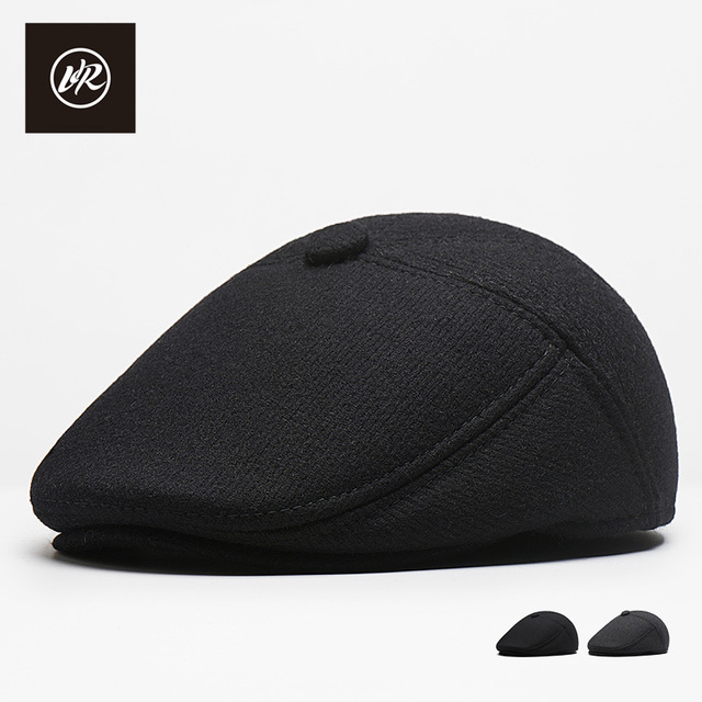 156da52285bbd VIS ROCK Branded Flat Cap Beret Visor Caps Autumn Winter Hats Mens Solid Berets  Hat Classic Casual Cap Adult Earmuffs