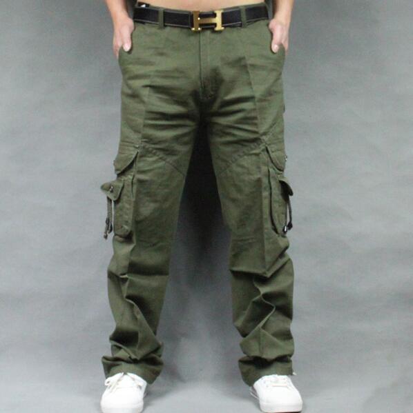 Men's  Cargo Pants Casual Mens straight-leg pants Pant Multi Pocket Overall Men Outdoors Trousers Plus size
