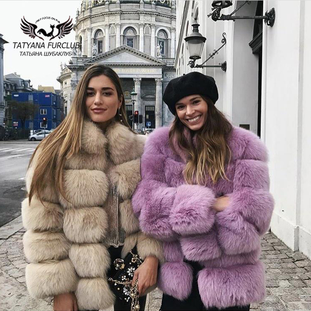 Tatyana Furclub Real Fur Coat Natural Fox Fur coat Jacket Fashion Fur Girl Winter Coat Female For Women Plus Size Can customized 1