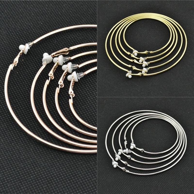 Stor liten cirkel guld silver Rund Kläm på örat Örhängen ringar - Märkessmycken - Foto 5