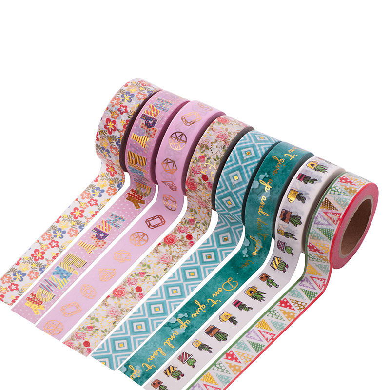 1 pcs DIY Japanese Paper Decorative Adhesive Tapes Cartoon Flolwer Washi Tape Bronzing Gold Masking Tape Stickers Size 15mm*10m