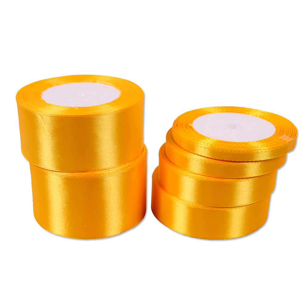 En gros n'importe quelle taille large 25 mètres rubans de satin jaune pour le travail à la main ruban décoratif arcs cadeau rubans de soie pour le travail à la main bricolage