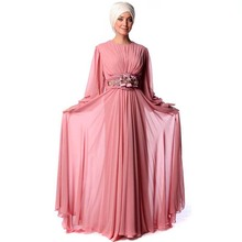 Pink Kaftan Abaya Dress Long Sleeve Muslim Evening Dress with Hijab Long Chiffon Beaded Pleats Sash Islamic Dress Party Evening