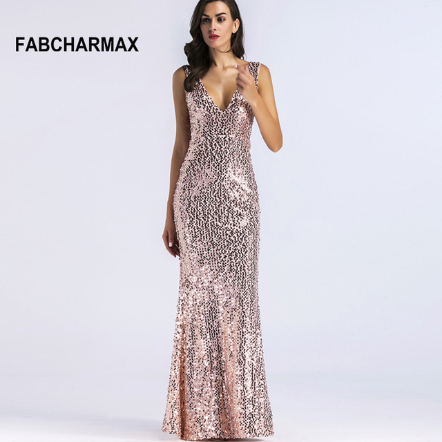 ca044900 FABCHARMAX mermaid sequin maxi dress v-neck chic evening party bodycon  dresses elegant women vestidos sequined sexy long dresses