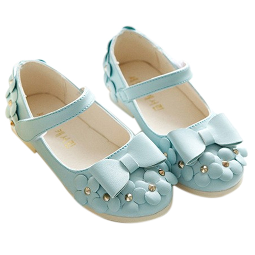 Girls New Fashion Hot Sale Floral Bow Shoes Princess Single Shoes For Children Pretty PU Sneakers(Blue,Size:36) ...