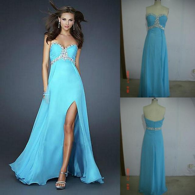 Famous designer real blue chiffon evening gown 2016 gowns flirt slit ...