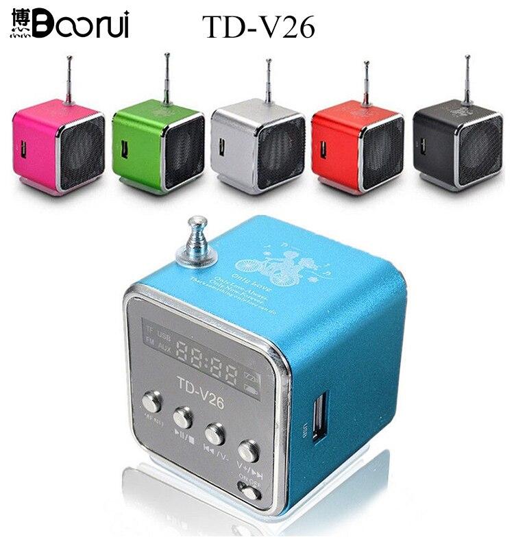 TD-V26 Mini altavoz portátil TF tarjeta Micro SD de disco USB musicAmplifier estéreo altavoz para DVD portátil teléfono móvil MP3 jugador